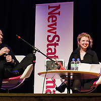 Zoe Howe and Wilco Johnson<br /> On stage at the Stoke Newington Literary Festival. 3 June 2012<br /> <br /> Picture by David X Green/Writer Pictures