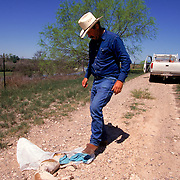 Bud Natus discovers a dead puppy carefully placed in the middle of a ranch road that parallels the Rio Grande in Eagle Pass, Texas. Natus believes it to be a warning from the Mexican smugglers after he was seen taking pictures of them. Please contact Todd Bigelow directly with your licensing requests. PLEASE CONTACT TODD BIGELOW DIRECTLY WITH YOUR LICENSING REQUEST. THANK YOU!