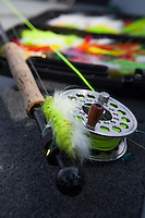 """assortment of large streamer flies and a 9wt """"Pike Sabre"""""""