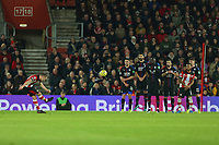 Football - 2019 / 2020 Premier League - Southampton vs. Crystal Palace<br /> <br /> Southampton's James Ward-Prowse curls a free kick over the Palace to force a fine save from Vicente Guaita of Crystal Palace during the Premier League match at St Mary's Stadium Southampton <br /> <br /> COLORSPORT/SHAUN BOGGUST