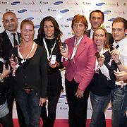 NLD/Haarlem/20081001 - Presentatie Pink Ribbon Ladyphone, July Fryer, Ilse Lans, Paul Wilking, Roemjana de Haan, Koen Brouwers, Pink Ribbon directrice Ida van Belle, Quinty Trustfull,
