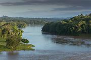 Landscape with rainforest across the San Juan River, El Castillo, Rio San Juan Department, Nicaragua