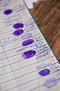 The finger prints of people registering for birth certificates from a rural slum in the Orissa district of India gets legal advice and birth certificates from a Legal Aid Clinic run by the organisation CLAP. Committee for Legal Aid to Poor (CLAP) is a non-profit organisation helping to provide legal aid to the poorer communities in the Orissa district of India.