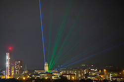 © Licensed to London News Pictures. 22/10/2020. Leeds, UK. Lasers from the Parkinson building at Leeds University light up the Leeds Sky as part of Leeds Light Night which is taking place from the 22nd to the 24th October. The light show has been designed by artist Seb Lee-Delisle & is an interactive display allowing members of the public to control the lasers placed on seven buildings in Leeds using an app on a smartphone or computer. Photo credit: Andrew McCaren/LNP