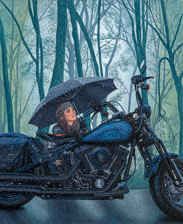 """""""Gimme Shelter"""" (Original Acrylic)<br /> Painting by Scott Jacobs 2015<br /> <br /> Scotts daughter Olivia protecting her beloved bike Tommy from the elements. The piece took Scott 3-months to create! Look close!"""