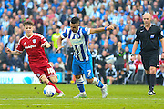 Brighton central midfielder, Beram Kayal lines up a shot during the Sky Bet Championship match between Brighton and Hove Albion and Cardiff City at the American Express Community Stadium, Brighton and Hove, England on 3 October 2015. Photo by Phil Duncan.