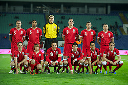 SOFIA, BULGARIA - Tuesday, October 11, 2011: Wales' players line up for a team group photograph before the UEFA Euro 2012 Qualifying Group G match against Bulgaria at the Vasil Levski National Stadium. Back row L-R: Darcy Blake, Ashley Williams, goalkeeper Wayne Hennessey, Steve Morison, Andrew Crofts, Craig Bellamy. Front row L-R:  Joe Allen, mascot, captain Aaron Ramsey, Gareth Bale, Neil Taylor, Chris Gunter. (Pic by David Rawcliffe/Propaganda)