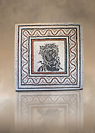 Roman  geometric floor mosaic  with a bust at its centre. From the Forte Prenestino area of Rome. 3rd century AD. National Roman Museum, Rome, Italy .<br /> <br /> If you prefer to buy from our ALAMY PHOTO LIBRARY  Collection visit : https://www.alamy.com/portfolio/paul-williams-funkystock/national-roman-museum-rome-mosaic.html <br /> <br /> Visit our ROMAN ART & HISTORIC SITES PHOTO COLLECTIONS for more photos to download or buy as wall art prints https://funkystock.photoshelter.com/gallery-collection/The-Romans-Art-Artefacts-Antiquities-Historic-Sites-Pictures-Images/C0000r2uLJJo9_s0