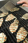 Grilling chicken breast over a charcoal barbecue