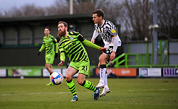 David Fitzpatrick of Port Vale blocks a shot from Scott Wagstaff of Forest Green Rovers- Mandatory by-line: Nizaam Jones/JMP - 16/01/2021 - FOOTBALL - innocent New Lawn Stadium - Nailsworth, England - Forest Green Rovers v Port Vale - Sky Bet League Two