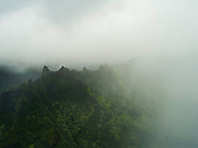 Aerial view of the Haena area on the northern coast of Kauai, Hawaii on a cloudy day.