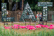 Henham Park, Suffolk, 20 July 2019. The famous pink sheep - The 2019 Latitude Festival.
