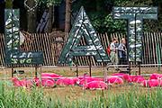 Henham Park, Suffolk, 20 July 2019. The famous pink sheep - The 2019 Latitude Festival.