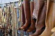 Detail shot of Gaucho boots in stall shop. Gaucho cowboy Rodeo, Flores de Cunha, Rio Grande do Sul.