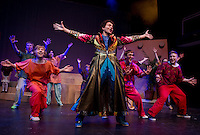 "Jack Harding as Joseph with the ensemble during dress rehearsal for ""Joseph and the Amazing Technicolor Dreamcoat"" at the Winnipesaukee Playhouse Thursday evening.  (Karen Bobotas/for the Laconia Daily Sun)"