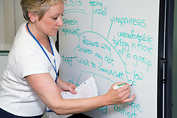 Teacher at adult education college writing on a whiteboard giving childcare lesson,