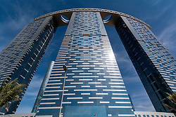 Modern new recently completed high-rise apartment tower The Gate at Al Reem Island on Al Reem Island in Abu Dhabi United Arab Emirates UAE