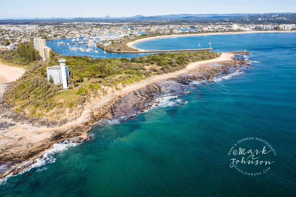 Aerial view of Pt Cartwright Reserve, Mooloolaba, Sunshine Coast, Queensland, Australia