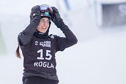 Cheyene Loch (GER) celebrates during Final Run at Parallel Giant Slalom at FIS Snowboard World Cup Rogla 2019, on January 19, 2019 at Course Jasa, Rogla, Slovenia. Photo byJurij Vodusek / Sportida