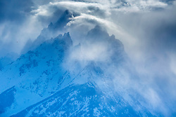 """Jagged peaks, stormy day, Grand Teton National Park, Jackson Hole, Wyoming<br /> <br /> For production prints or stock photos click the Purchase Print/License Photo Button in upper Right; for Fine Art """"Custom Prints"""" contact Daryl - 208-709-3250 or dh@greater-yellowstone.com"""