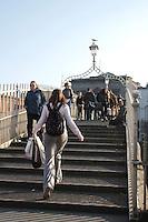 Dublin's pedestrian Halpenny bridge Ireland