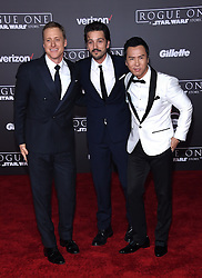 Celebrities walk the red carpet for the 'Rogue One: A Star Wars Story' world premiere held at the Pantages Theatre in Hollywood. 10 Dec 2016 Pictured: Alan Tudyk, Diego Luna, Donnie Yen. Photo credit: American Foto Features / MEGA TheMegaAgency.com +1 888 505 6342
