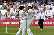 Lord's London, 1st NPower Test   England v New Zealand.  Andrew Strauss [left] and Ashley Giles celebrate. 20/05/2004 <br /> [Credit Peter Spurrier Intersport Images}
