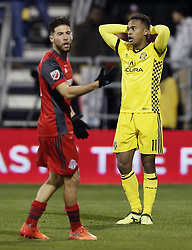 November 21, 2017 - Columbus, OH, USA - Columbus Crew forward Ola Kamara (11) puts his arms on his head after missing a shot on goal against Toronto FC in the second half of the first leg of the MLS Eastern Conference finals at MAPFRE Stadium in Columbus, Ohio, on Tuesday, Nov. 21, 2017. After a scoreless draw, the teams move to Toronto for the final leg on November 29. (Credit Image: © Kyle Robertson/TNS via ZUMA Wire)