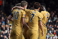 Harry Kane (L) of Tottenham Hotspur celebrates with teammates after he scores his teams first goal. The Emirates FA Cup, 5th round match, Fulham v Tottenham Hotspur at Craven Cottage in London on Sunday 19th February 2017.<br /> pic by Steffan Bowen, Andrew Orchard sports photography.