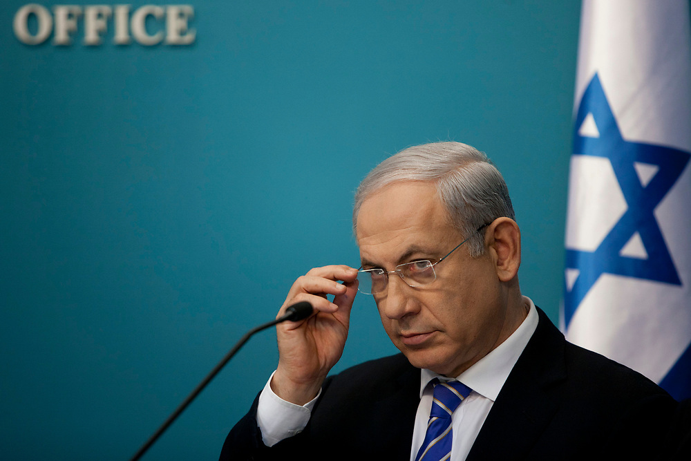 Israel's Prime Minister Benjamin Netanyahu is seen during a press conference at the Prime Minister's office in Jerusalem, on February 22, 2012, in which the conclusions of The Committee on Strengthening Market Competitiveness, known as the Concentration Committee, were presented.