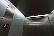 Vienna, Austria. Seestadt Aspern.<br /> Green house: elevator at Technologiezentrum (Technology Center) aspern IQ.