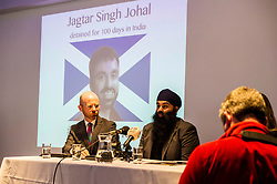 """Pictured: Martin Docherty-Hughes, SNP, MSP for West Dumbartonshire and Gurpreet Singh Johal, Jaggi's brother.<br /> <br /> This week marks 100 days since the arrest of Jagtar Singh Johal, a Scottish Sikh from Dumbarton who has been held by Indian police without charge since 4 November 2017.  The arrest came two weeks after Jagtar, also known as 'Jaggi"""" travelled to india from Scotland for his wedding.<br /> <br /> <br /> Ger Harley 