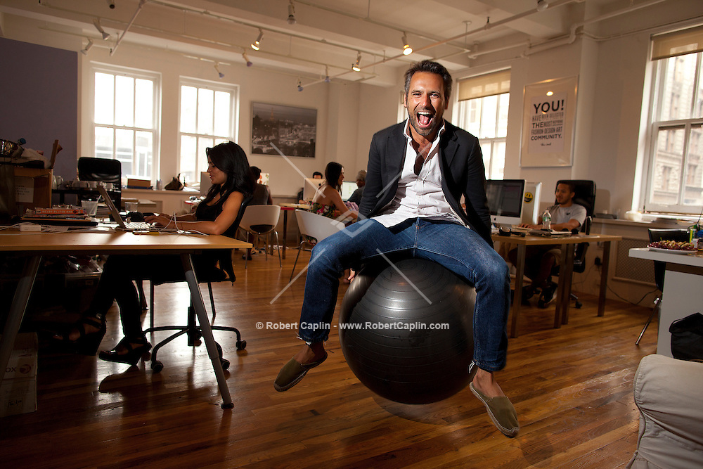 Olivier van Themsche, the swank french guy behind a new site called The Cools in his SoHo offices New York... Photo by Robert Caplin