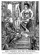 "King Cophetua and the Beggar-maid. The King (Mr Asquith). ""'This beggar-maid shall be my queen' - that is, if there's a general feeling in the country to that effect."""