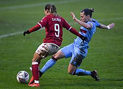 Ebony Salmon of Bristol City Women is challenged by Gilly Flaherty of West Ham United Women - Mandatory by-line: Ryan Hiscott/JMP - 13/12/2020 - FOOTBALL - Twerton Park - Bath, England - Bristol City Women v West Ham United Women - Barclays FA Women's Super League