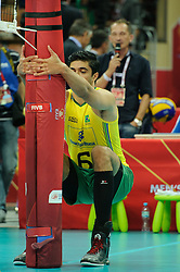 07.09.2014, Spodek, Katowice, POL, FIVB WM, Brasilien vs Kuba, Gruppe B, im Bild Leandro Vissotto Neves // during the FIVB Volleyball Men's World Championships Pool B Match beween Brazil vs Cuba at the Spodek in Katowice, Poland on 2014/09/07. EXPA Pictures © 2014, PhotoCredit: EXPA/ Newspix/ Karol Baik<br /> <br /> *****ATTENTION - for AUT, SLO, CRO, SRB, BIH, MAZ, TUR, SUI, SWE only*****
