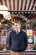 May0088093 . Daily Telegraph<br /> <br /> DT News<br /> <br /> Eric Treuille who part owns the famous Books For Cooks bookshop in Portobello with his wife Rosie Kindersley  .<br /> <br /> London 28 February  2019