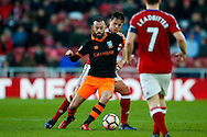 Sheffield Wednesday forward Steven Fletcher (6)  shields the ball from Middlesbrough defender Bernardo Espinosa (5)  during the The FA Cup match between Middlesbrough and Sheffield Wednesday at the Riverside Stadium, Middlesbrough, England on 8 January 2017. Photo by Simon Davies.