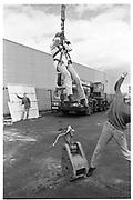 Sophie Service does a reverse bungy jump. London. 1988. © Copyright Photograph by Dafydd Jones 66 Stockwell Park Rd. London SW9 0DA Tel 020 7733 0108 www.dafjones.com