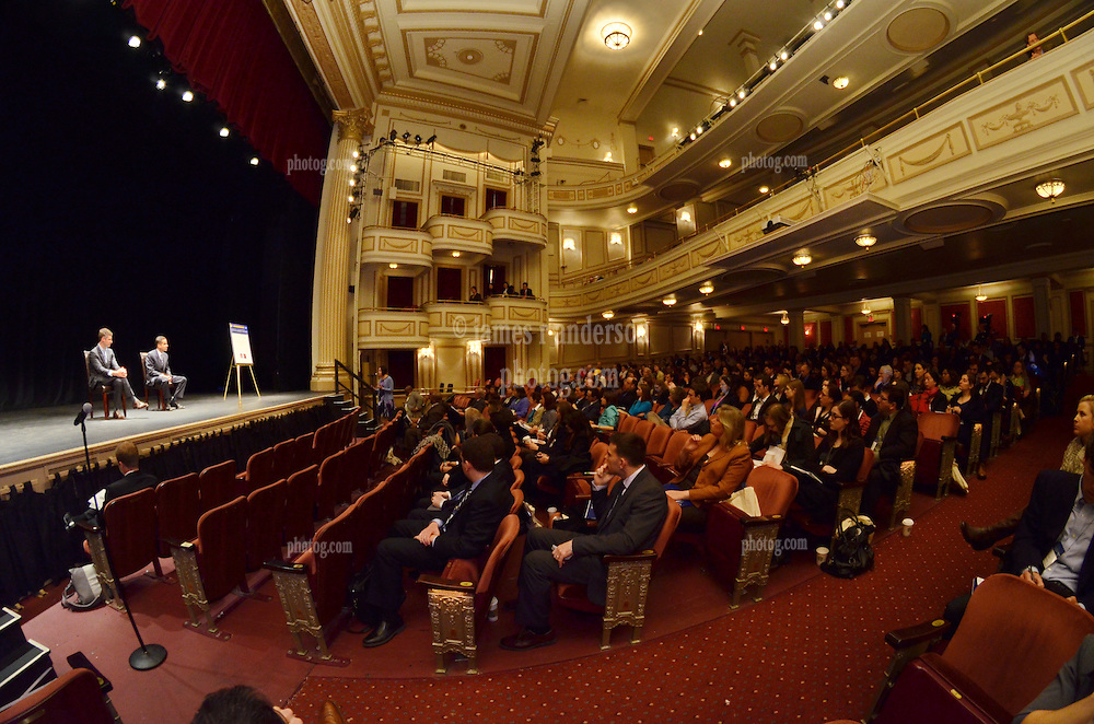 Yale SOM Education Leadership Conference. Friday Morning Keynote Speakers, Providence, RI Mayor Angel Taveras and Louisiana State Superintendent John White. 5 April 2013. Interior of the Shubert Theater, New Haven, CT. Audience.