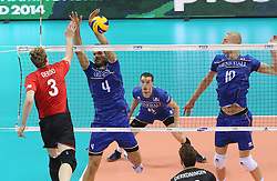 07.09.2014, Krakow Arena, Krakau, POL, FIVB WM, Frankreich vs Belgien, Gruppe D, im Bild SAM DEROO, ANTONIN ROUZIER, BENJAMIN TONIUTTI, KEVIN LE ROUX // during the FIVB Volleyball Men's World Championships Pool D Match beween France and Belgium at the Krakow Arena in Krakau, Poland on 2014/09/07. <br /> <br /> ***NETHERLANDS ONLY***