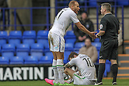 Lois Maynard (Tranmere Rovers) talks to the Karl Evans (referee) to try and not get James Norwood (Tranmere Rovers) a booking during the Vanarama National League match between Tranmere Rovers and Southport at Prenton Park, Birkenhead, England on 6 February 2016. Photo by Mark P Doherty.