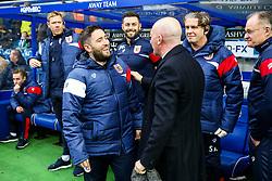 Bristol City Head Coach Lee Johnson greets Queens Park Rangers manager Ian Holloway - Rogan/JMP - 23/12/2017 - Loftus Road - London, England - Queens Park Rangers v Bristol City - Sky Bet Championship.