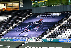A banner showing support to Derby County player Andre Wisdom - Mandatory by-line: Ryan Crockett/JMP - 11/07/2020 - FOOTBALL - Pride Park Stadium - Derby, England - Derby County v Brentford - Sky Bet Championship