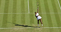 LONDON, ENGLAND - Tuesday, July 2, 2019: Serena Williams (USA) serves during the Ladies' Singles first round match on Day Two of The Championships Wimbledon 2019 at the All England Lawn Tennis and Croquet Club. (Pic by Kirsten Holst/Propaganda)
