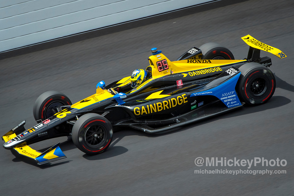 INDIANAPOLIS, IN - MAY 15: Zach Veach #26 of United States and Andretti Autosport, practices at the Indianapolis Motor Speedway on May 15, 2019 in Indianapolis, Indiana. (Photo by Michael Hickey/Getty Images) *** Local Caption *** Zach Veach