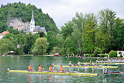 Bled, SLOVENIA.  General view GV start.   1st FISA World Cup, on Lake Bled. Friday  28/05/2010  [Mandatory Credit Peter Spurrier/ Intersport Images]
