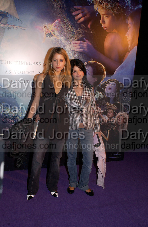 Peaches Geldof and Pixie Geldof, party after the Peter Pan film world premiere in aid of the Great Ormond St. Embankment park. 9 December 2003. hospital.© Copyright Photograph by Dafydd Jones 66 Stockwell Park Rd. London SW9 0DA Tel 020 7733 0108 www.dafjones.com