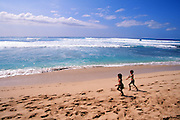 Kids on Beach, Kaaawa, Oahu, Hawaii