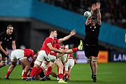 Tomos Williams of Wales kicks the ball during the Rugby World Cup bronze final match between New Zealand and Wales Friday, Nov, 1, 2019, in Tokyo. New Zealand defeated Wales 40-17.  (Flor Tan Jun/Espa-Images-Image of Sport)